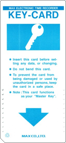 Max Programming Key-Card