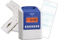 Seiko Z120 Time Clock Package: Z120 time clock, 200 weekly payroll time cards and 6 slot time card rack